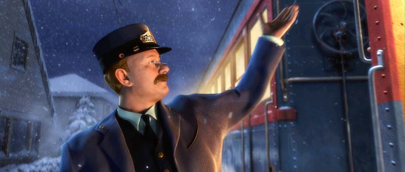 Tom Hanks as the conductor Polar Express 2004 animatedfilmreviews.blogspot.com