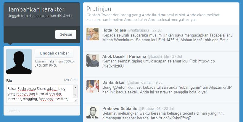 isi avatar dan biodata akun twitter