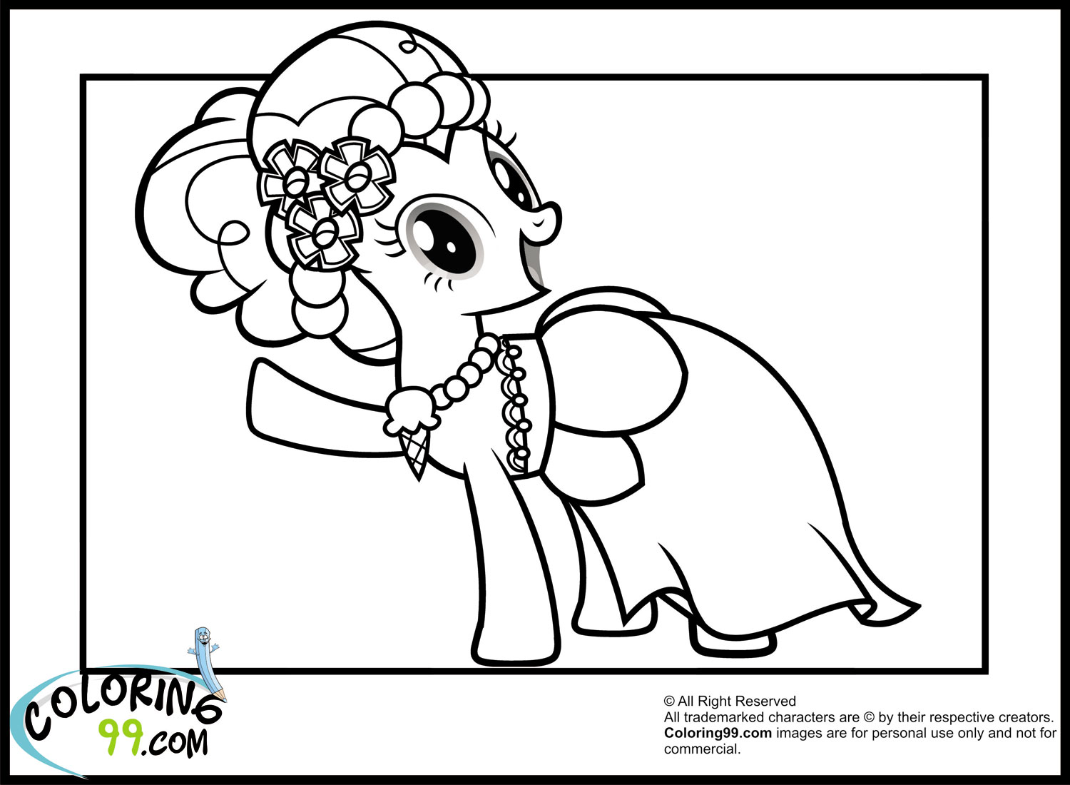 My Little Pony Gala Coloring Pages : My little pony pinkie pie coloring pages team colors