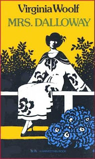 Image: The cover of Mrs. Dalloway. The background is yellow, and there is a silhouette of a woman wearing a black and white floral dress sitting on a bench. Below the bench are blue flowers. The title and author appear at the top.