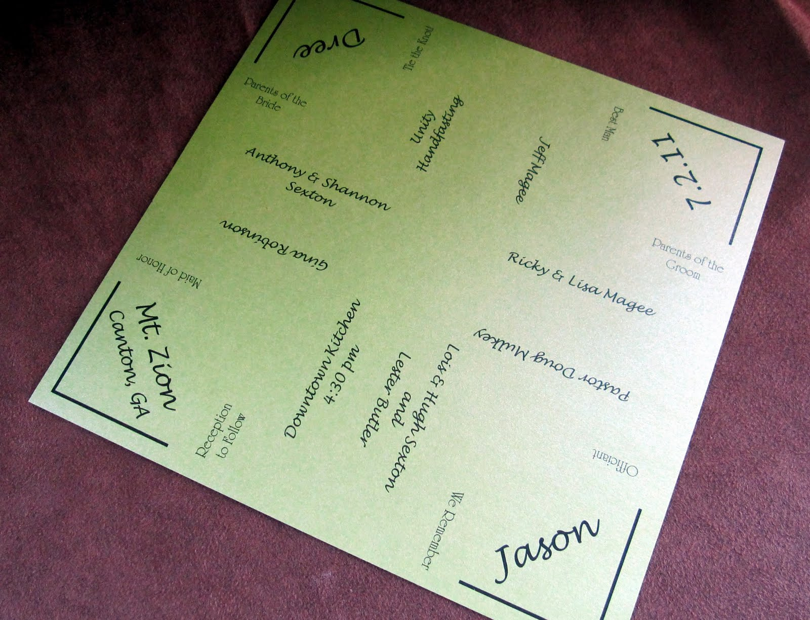 Scrapping Innovations: Dree and Jason Cootie Catcher Wedding programs