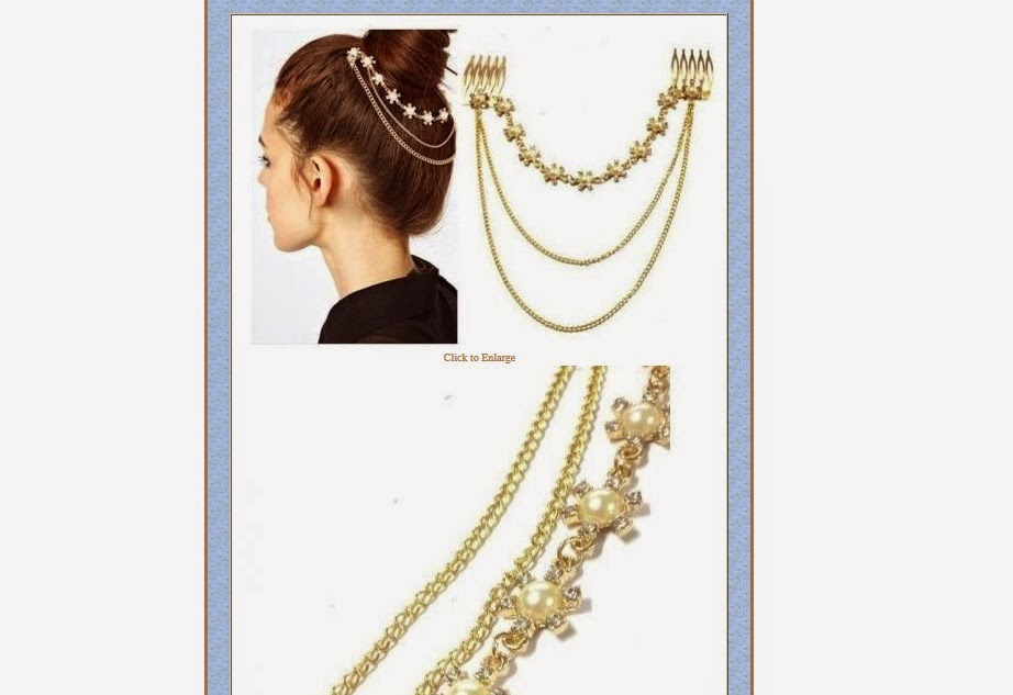 Fashion Design Pearl Crystal Snow Flower Golden Chain Tassels Cuff Hair Comb