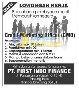Lowongan Kerja PT. First Indo Finance