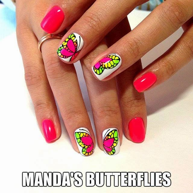 Set-of-custom-nails-colorful-butterfly-neon-special
