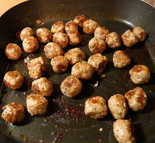 Meatballs Browning in Frying Pan