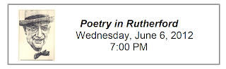 Poetry in Rutherford, Wednesday, June 6, 2012, 7:00 PM