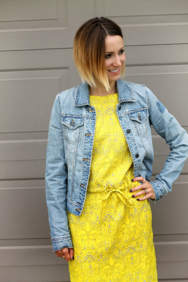 denim jacket, yellow dress and gray ankle boots