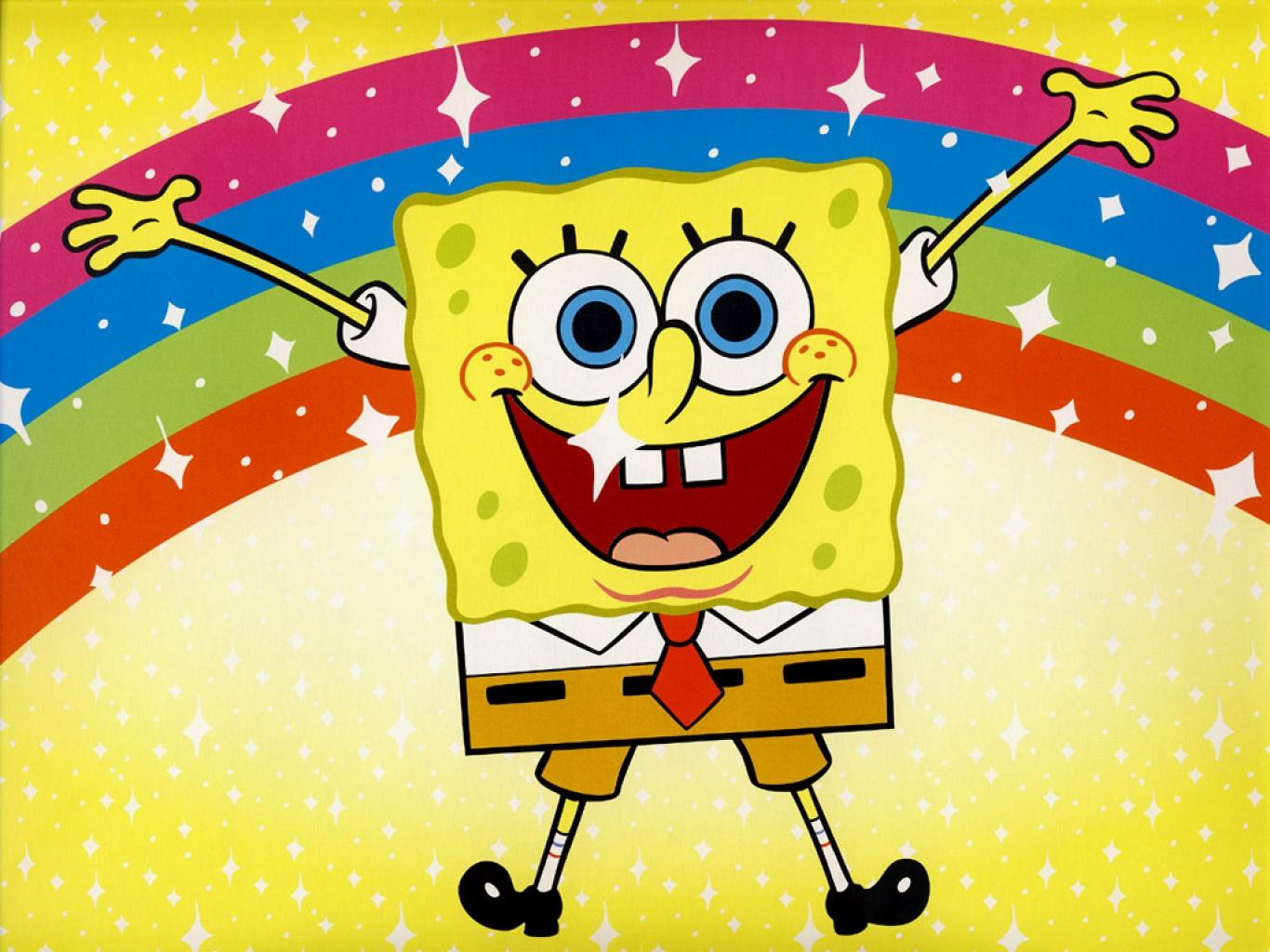 Nicolas Cage Background Rainbow Sponge bob with rainbow