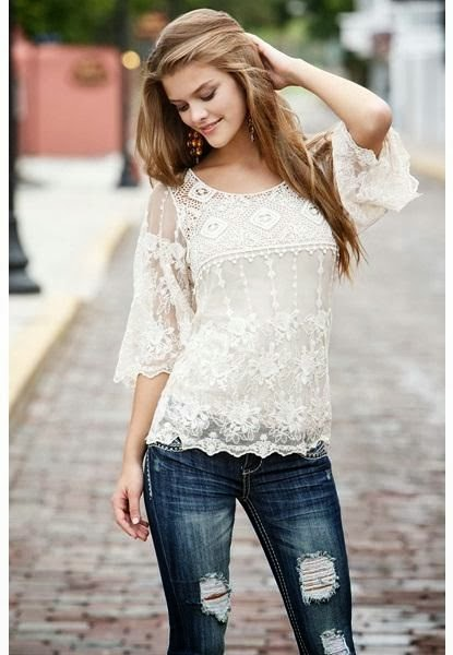 Crochet Lace Bell Sleeve Shirt With Blue Jeans