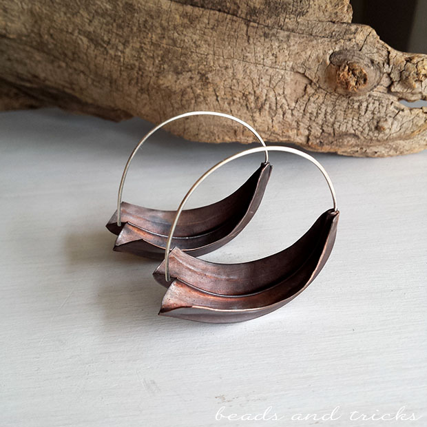 Orecchini in rame a foldforming e argento 925, plunkett fold