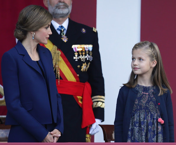 Queen Letizia of Spain, Princess Sofia of Spain and Princess Leonor of Spain attends the Spanish National Day