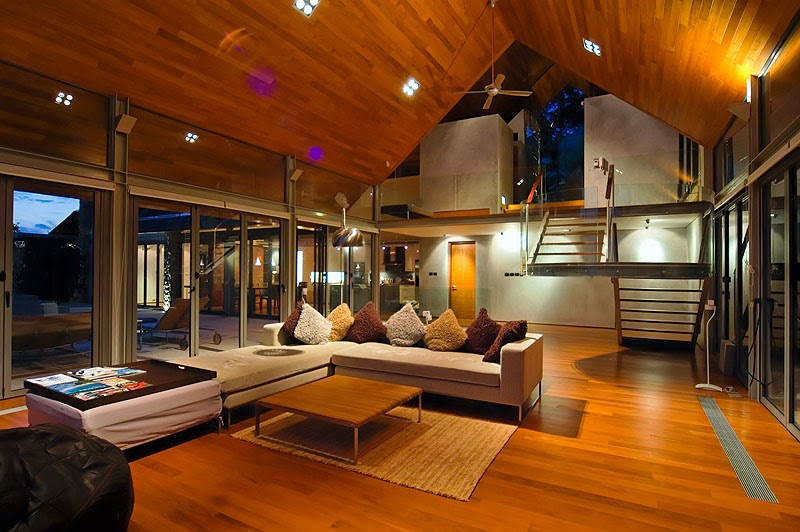 Living room in Villa with contemporary Asian design at night