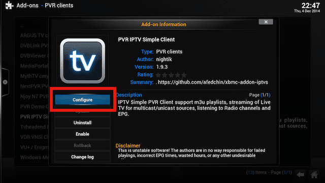 how to add pvr simple client to kodi