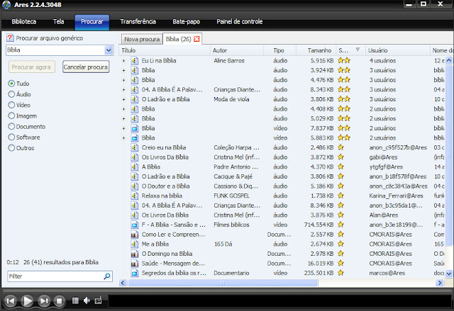 Procurando arquivos no Ares Galaxy