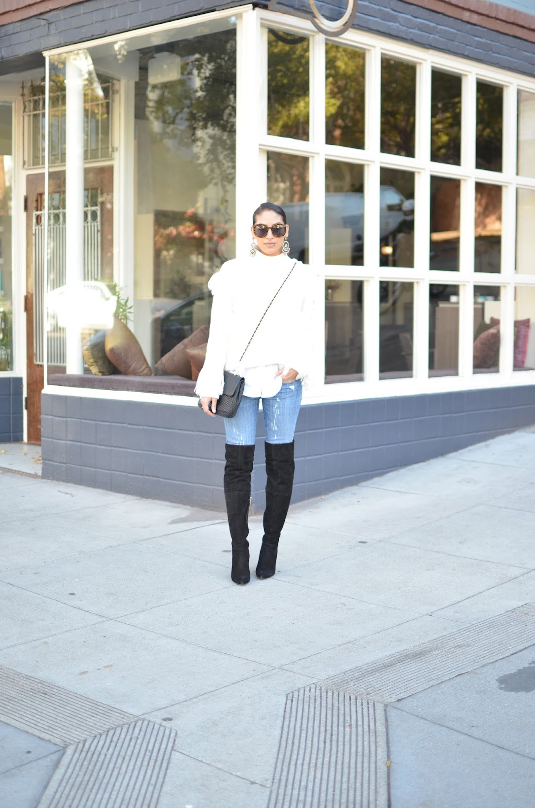 Fall style, fringe sweater, Coach Fall A/W collection, Aran fringe sweater Coach, OTK boots