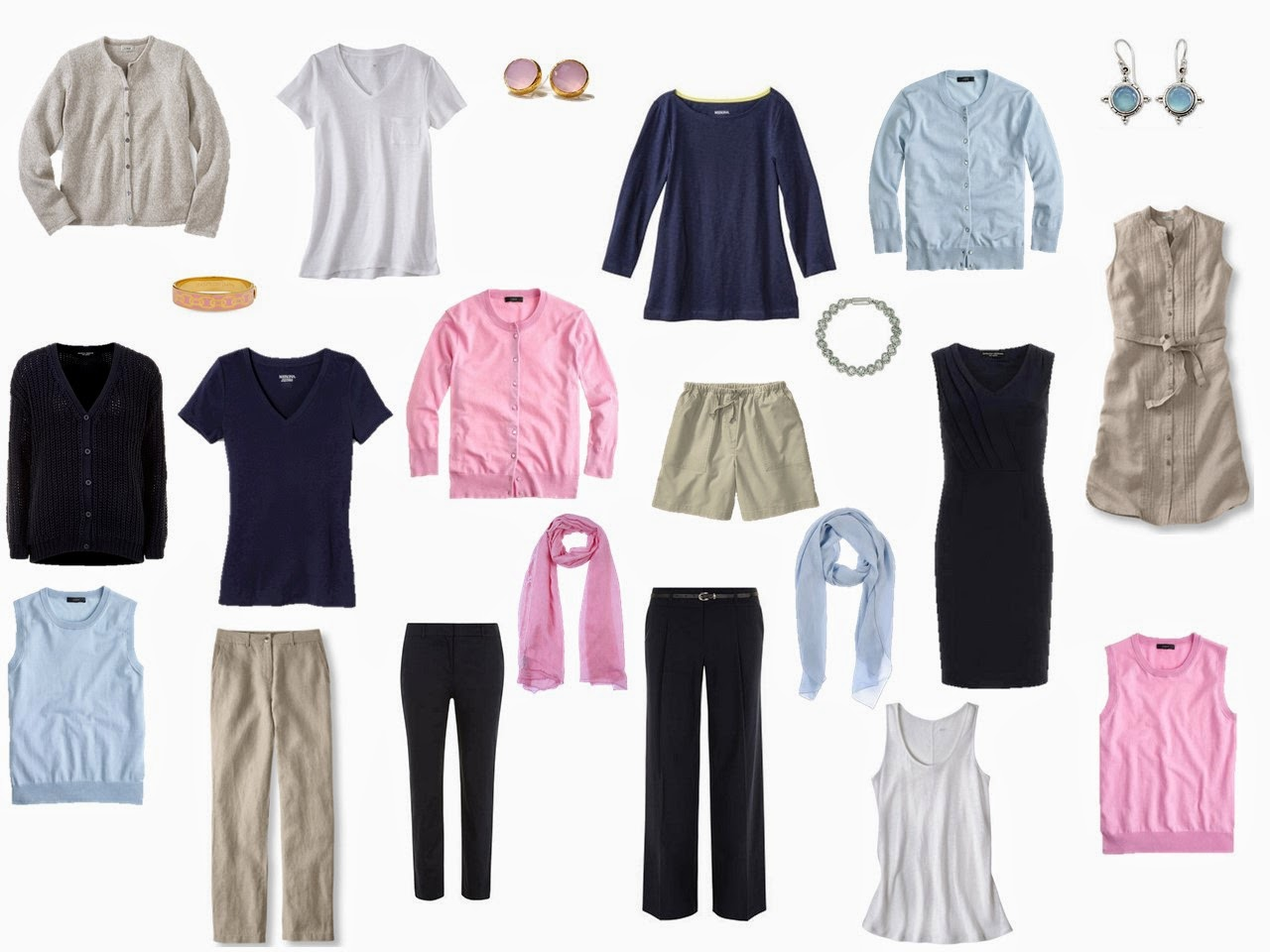 navy, beige, pink and light blue travel capsule wardrobe