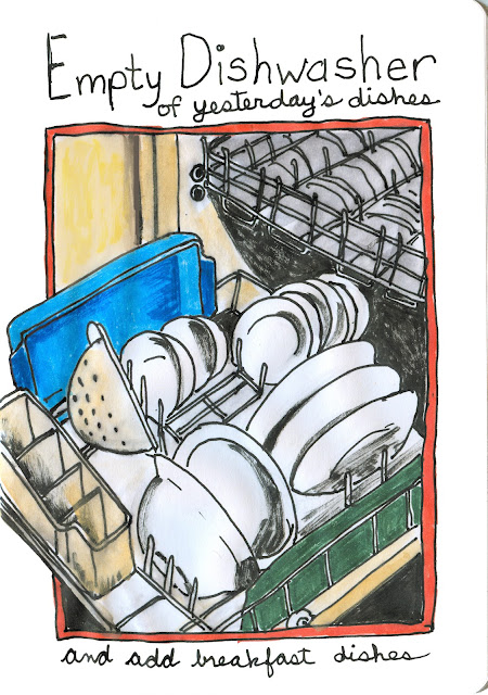 Open dishwasher full of dishes - Empty the dishwasher of clean dishes and add dirty breakfast dishes-Watercolour with Ink by Ana Tirolese ©2012