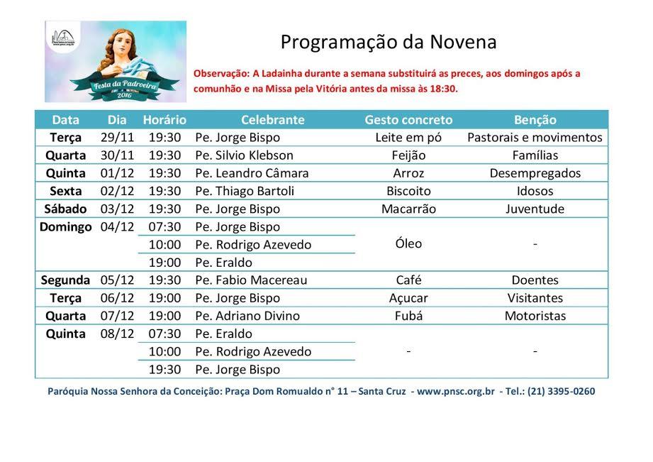 NOVENA DE NOSSA SENHORA DA CONCEIÇÃO - PNSC-STA.CRUZ