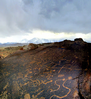 Sky Rock Petroglyphs. Mt. Tom lurks in the background.