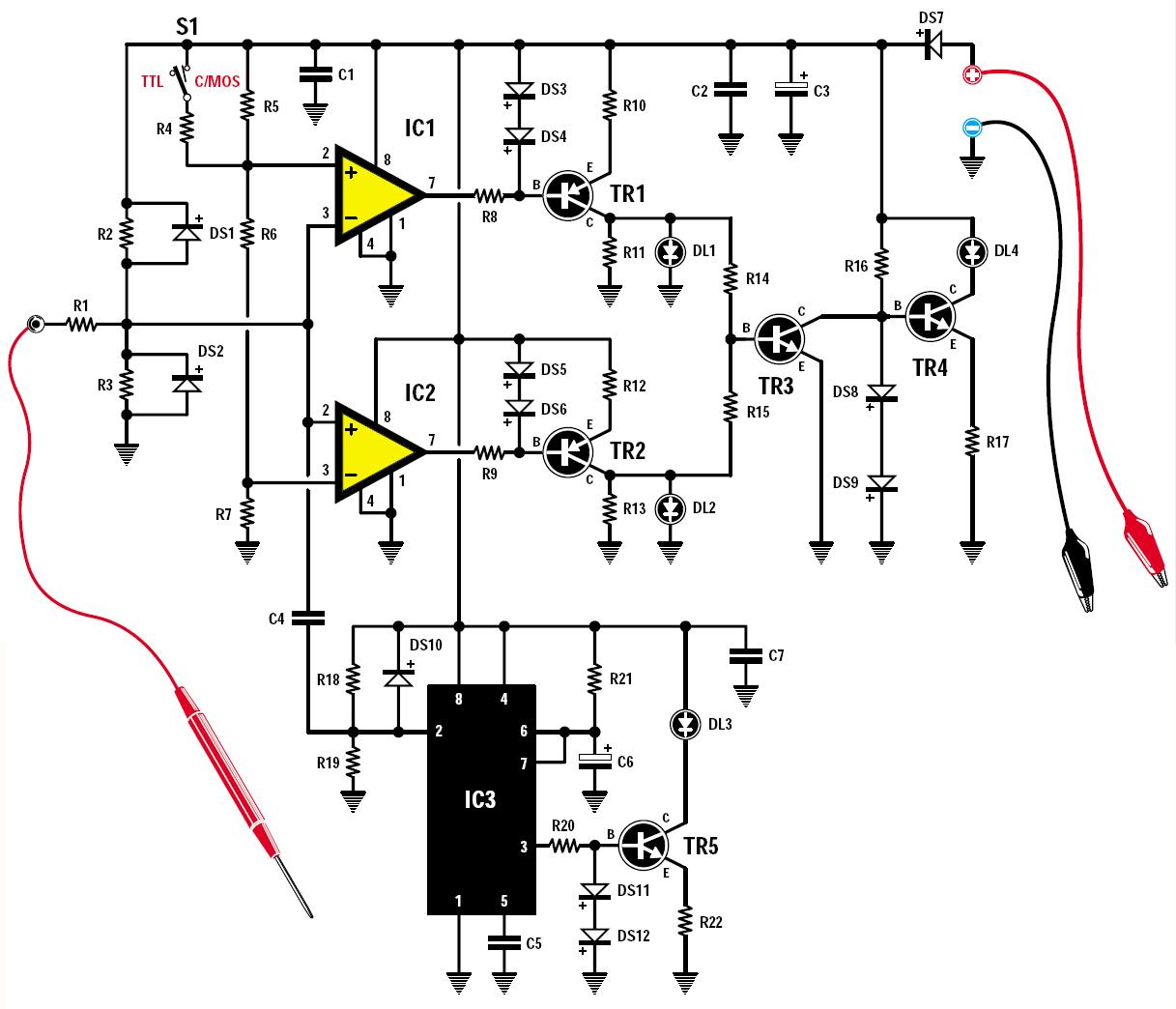 une sonde logique ttl et cmos schema electronique net