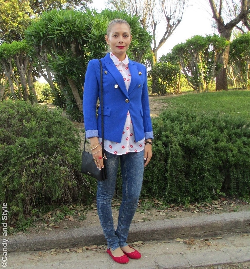 Royal Blue Blazer, Red Lips Blouse, Denim, Flats, Crossbody Bag - Lilli Candy and Style Fashion Blog