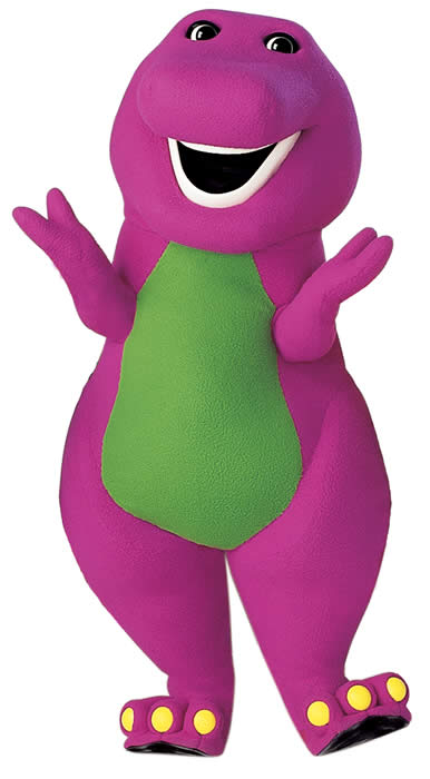 an overview of the character of barney a dinosaur form a child show Barney the dinosaur is a two hundred million year (two dinosaur years) old, six-foot tall, reddish-purple tyrannosaurus rex with a green belly, who comes to life through a child's imagination.