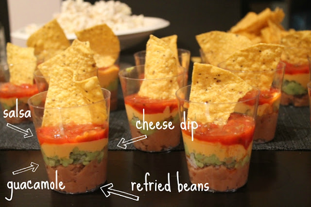 individual seven layer dip, appetizer and finger food