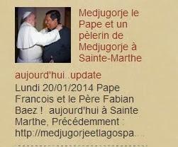 Medjugorje actualités le Pape et un pèlerin de Medjugorje à Sainte-Marthe aujourd'hui..update