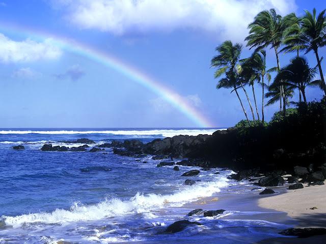 Beach HD wallpaper with rainbow