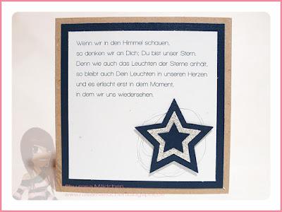 Stampin' Up! Rosa Mädchen Kulmbach Trauerkarte für ein Kind mit Sternen