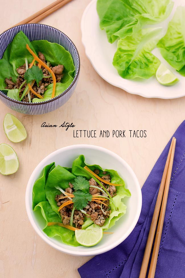 Asian Style Lettuce and Pork Tacos