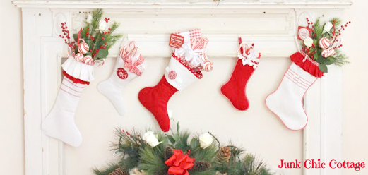 Red and White Christmas Stockings-Junk Chic Cottage-How I Found My Style Sundays Christmas Edition- From My Front Porch To Yours