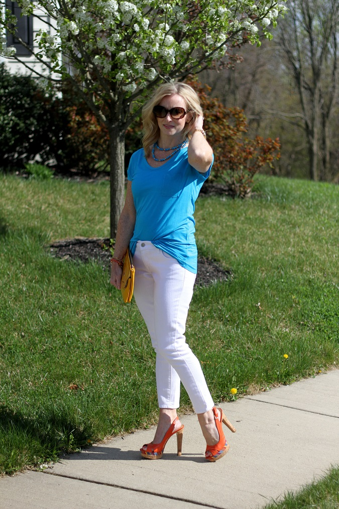 Jbrand, Nine West, TJ Maxx, Tahari, Stella Dot, Simply Lulu Design, Michael Kors, Simply Lulu Style, lulu looks, mama said monday, white skinny cropped jeans, turquoise, Prada, summer wedges,