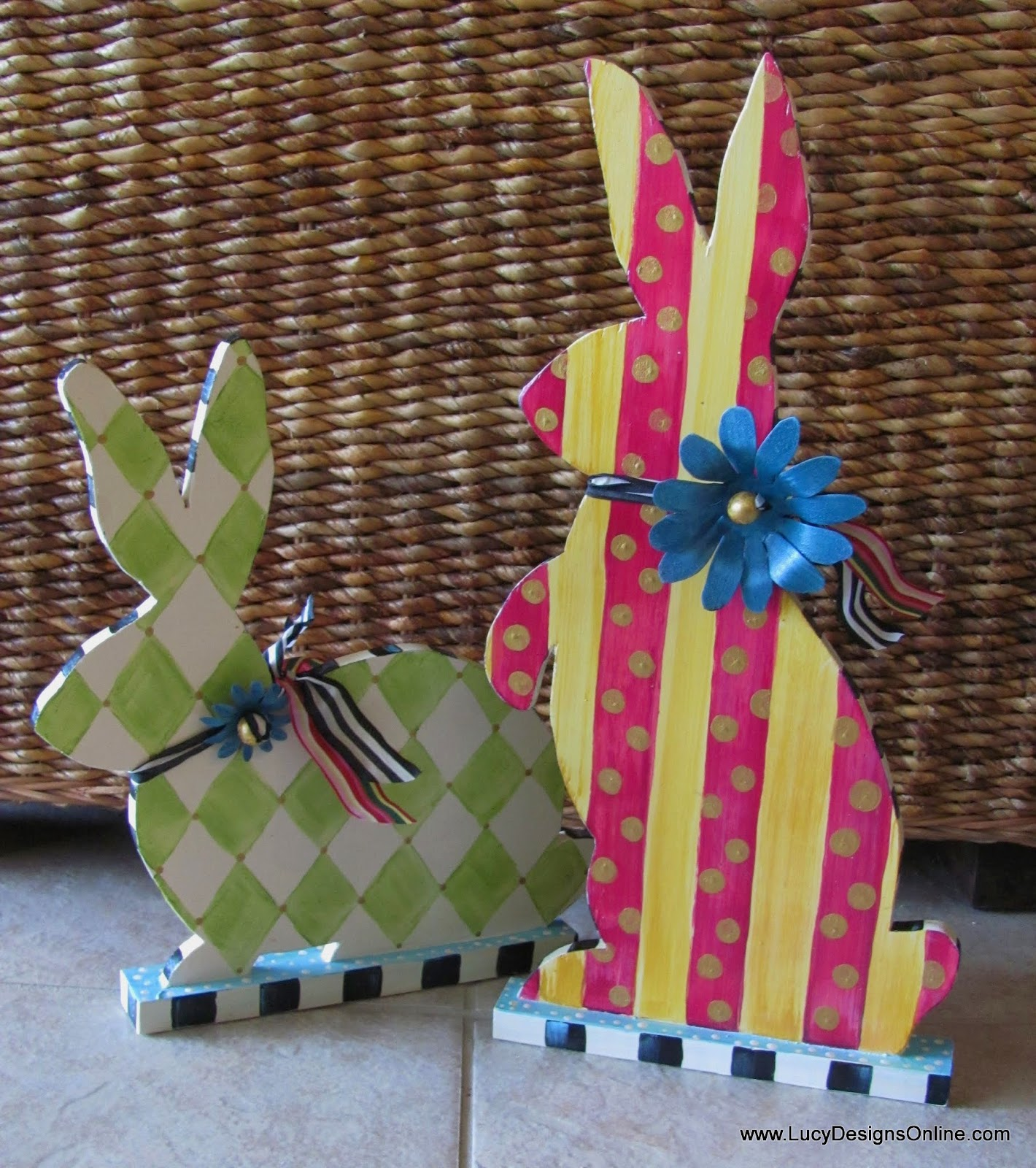 hand painted whimsical easter decor bunny rabbit