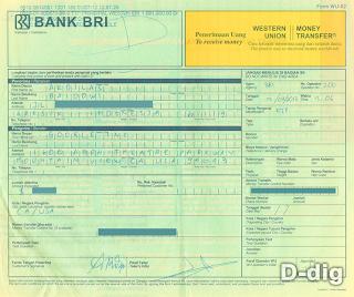 Cara Mengambil Uang Google Adsense melalui Western Union di BRI - Slip 2