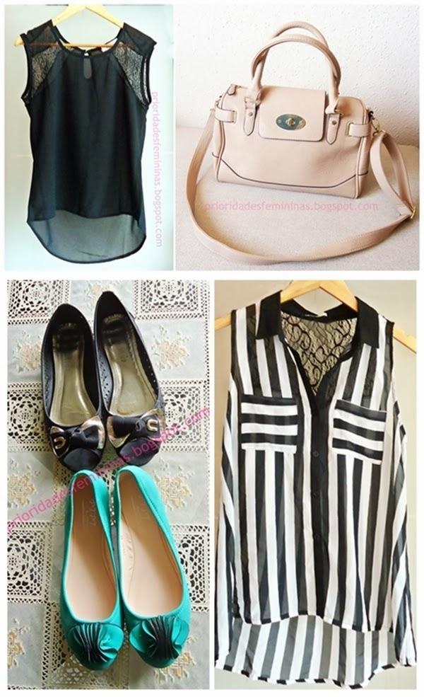 blusas, bolsa, sapatilhas verde, listras