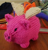 Yes, the flying pig is real. (In knitted form, anyway.)