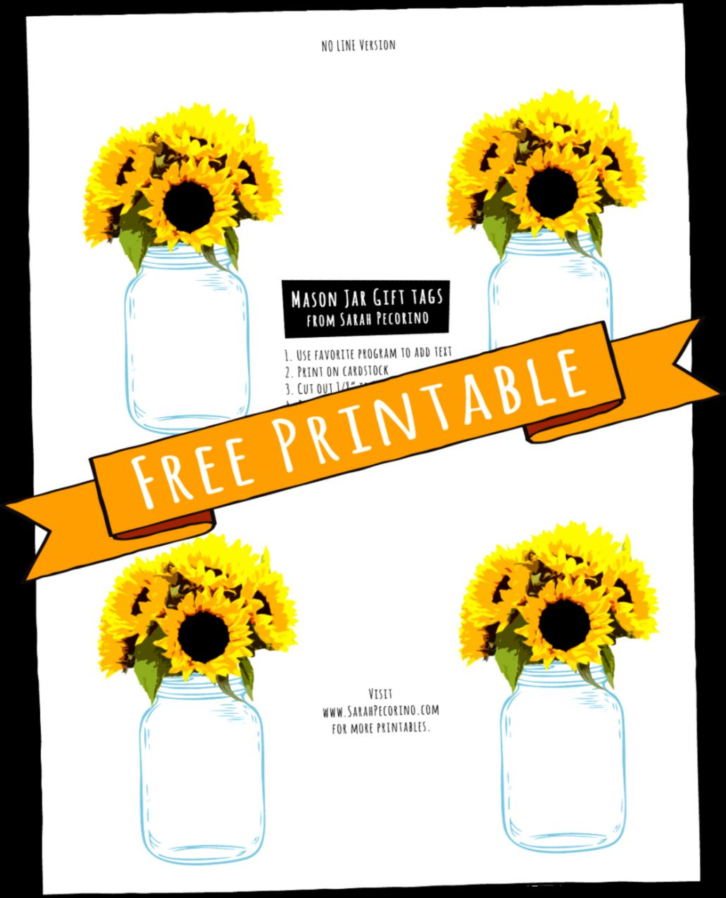 Sarah Pecorino Illustration FREE Sunflowers in a Mason Jar Gift Tags