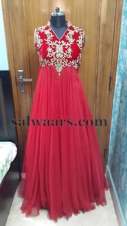 Red Sleeve Less Floor Length Salwar