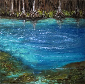 """ Florida's Eden, Manatee Springs ""  Oil on wood / 14 x 14/ SOLD / Copyright 2011 Tim Malles"