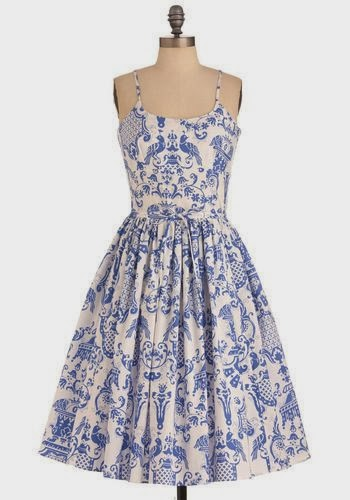 Blue and White Two If By Tea Dress - ModCloth