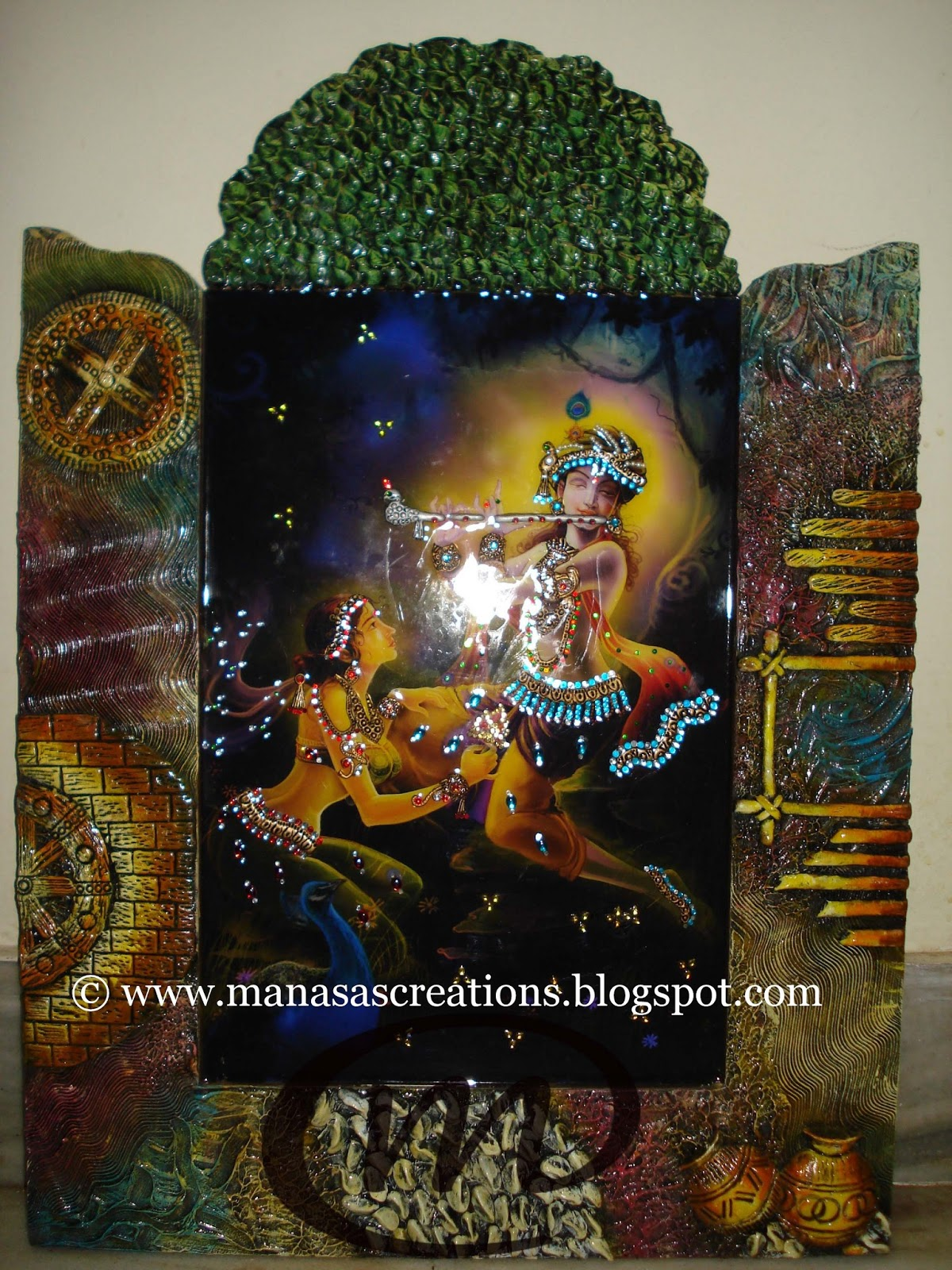 Manasa 39 s creations murals tanjore paintings mural for Mural radha krishna