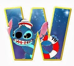 Alfabeto de personajes Disney con letras grandes w Stich pequeño.