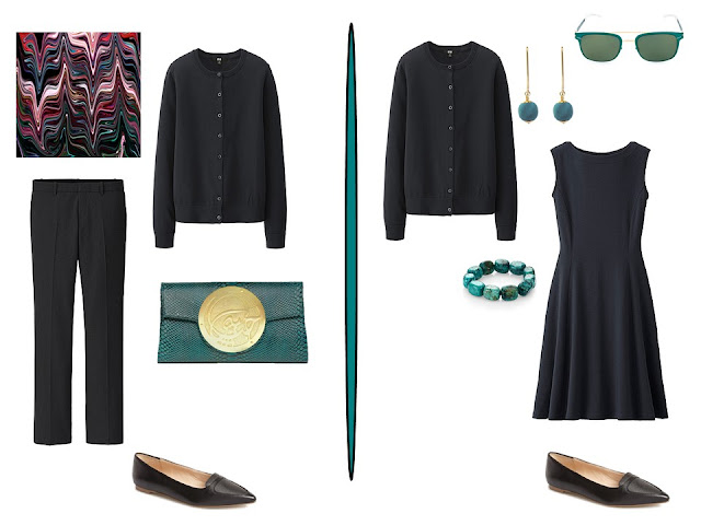 two simple black outfits with teal accessories
