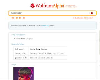 Screenshot of WolfamAlpha.com
