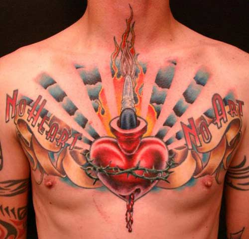 flaming heart tattoos. Design - Heart Tattoo