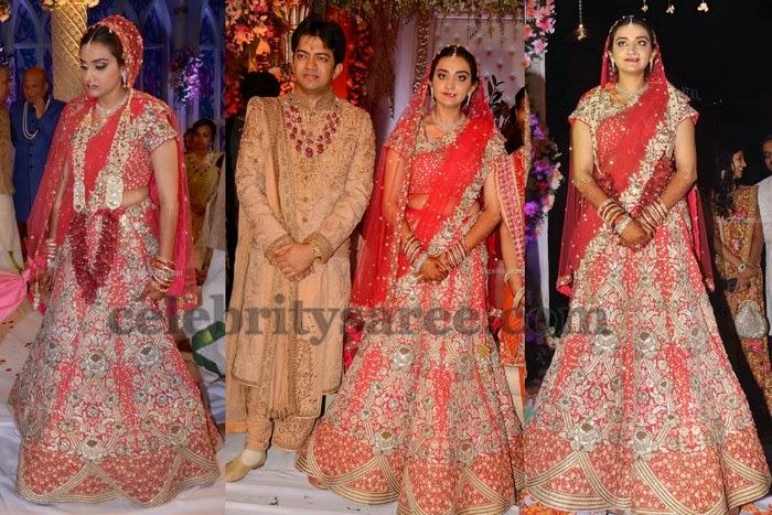 Real Bride in Reception Half Saree