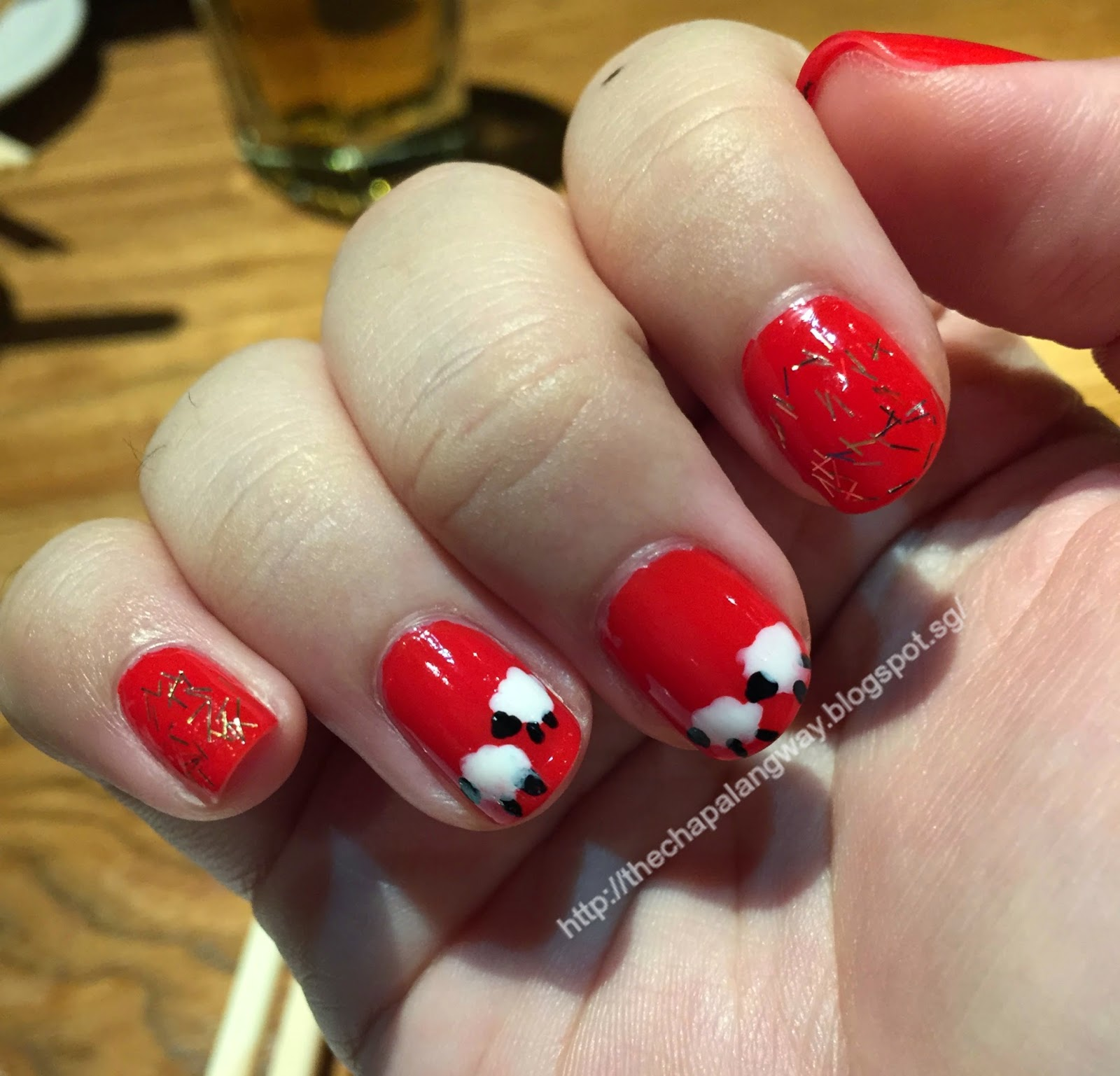 sheep design nails,red, sally hansen red snapper,simple nail design, cute nails