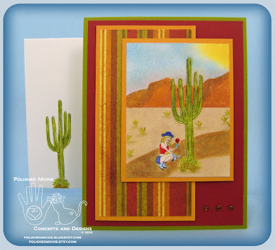 Image of my handmade garden desert card and its coordinating handmade envelope.