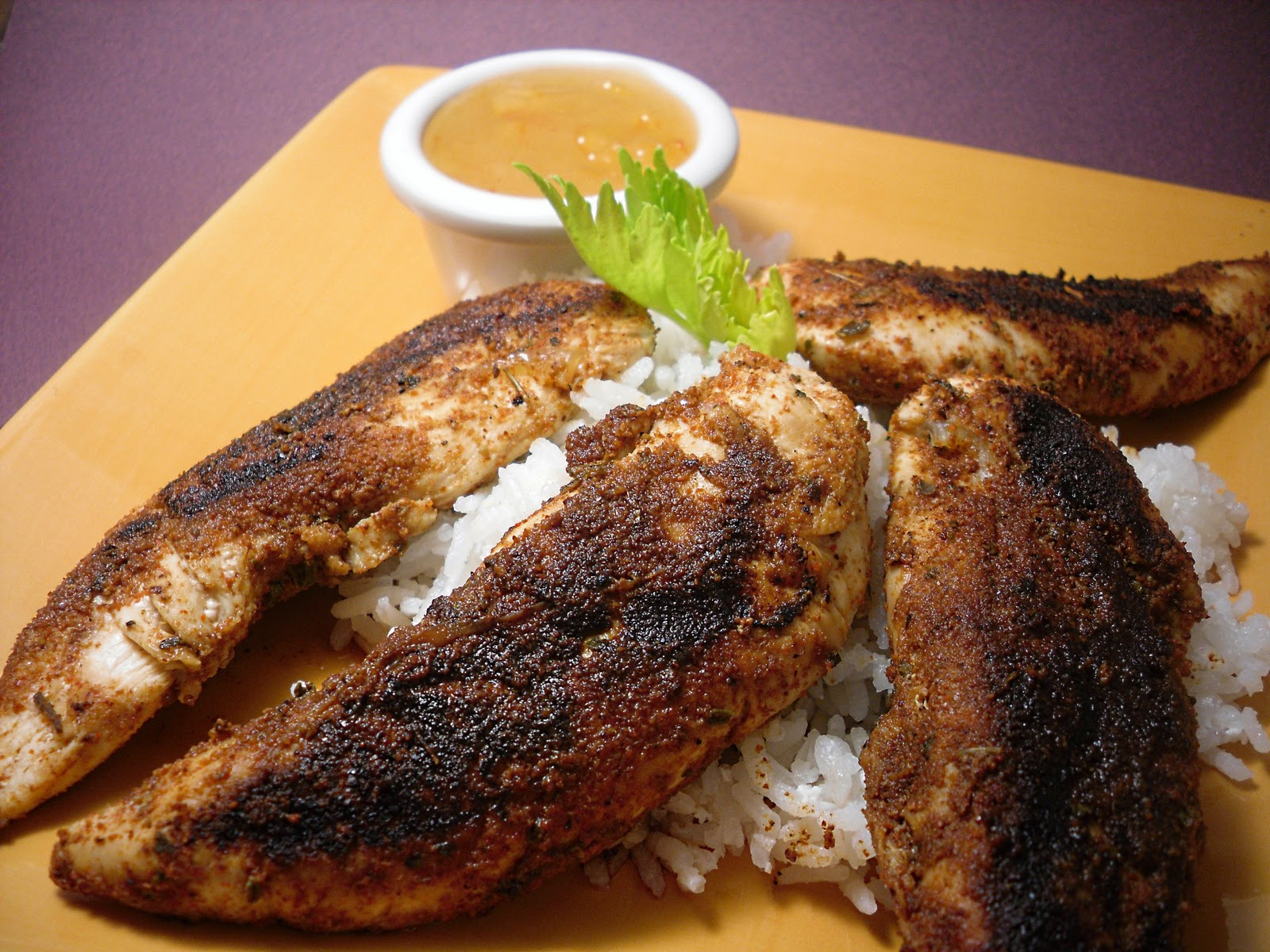 Blackened Chicken Tenders with Orange Marmalade Dipping Sauce